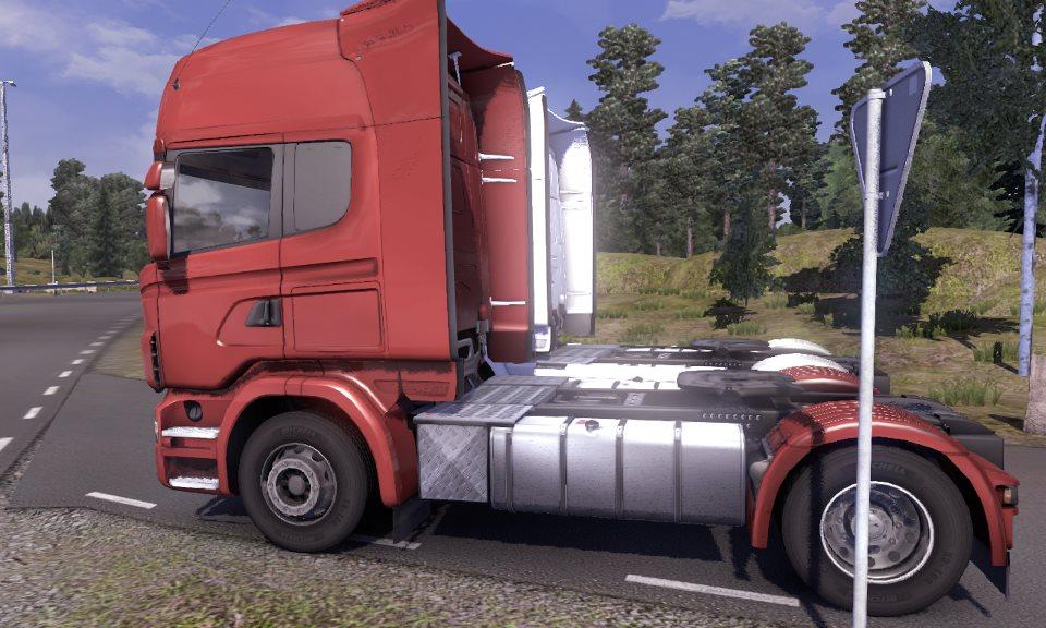 Kırmızı – Beyaz Scania Çekici Görüntüleri – Scania Tır Simülasyonu (Özel)