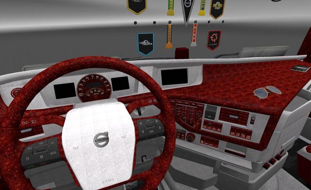 Volvo-FH16-2012-Kırmızı&Beyaz-Sedef-Interior