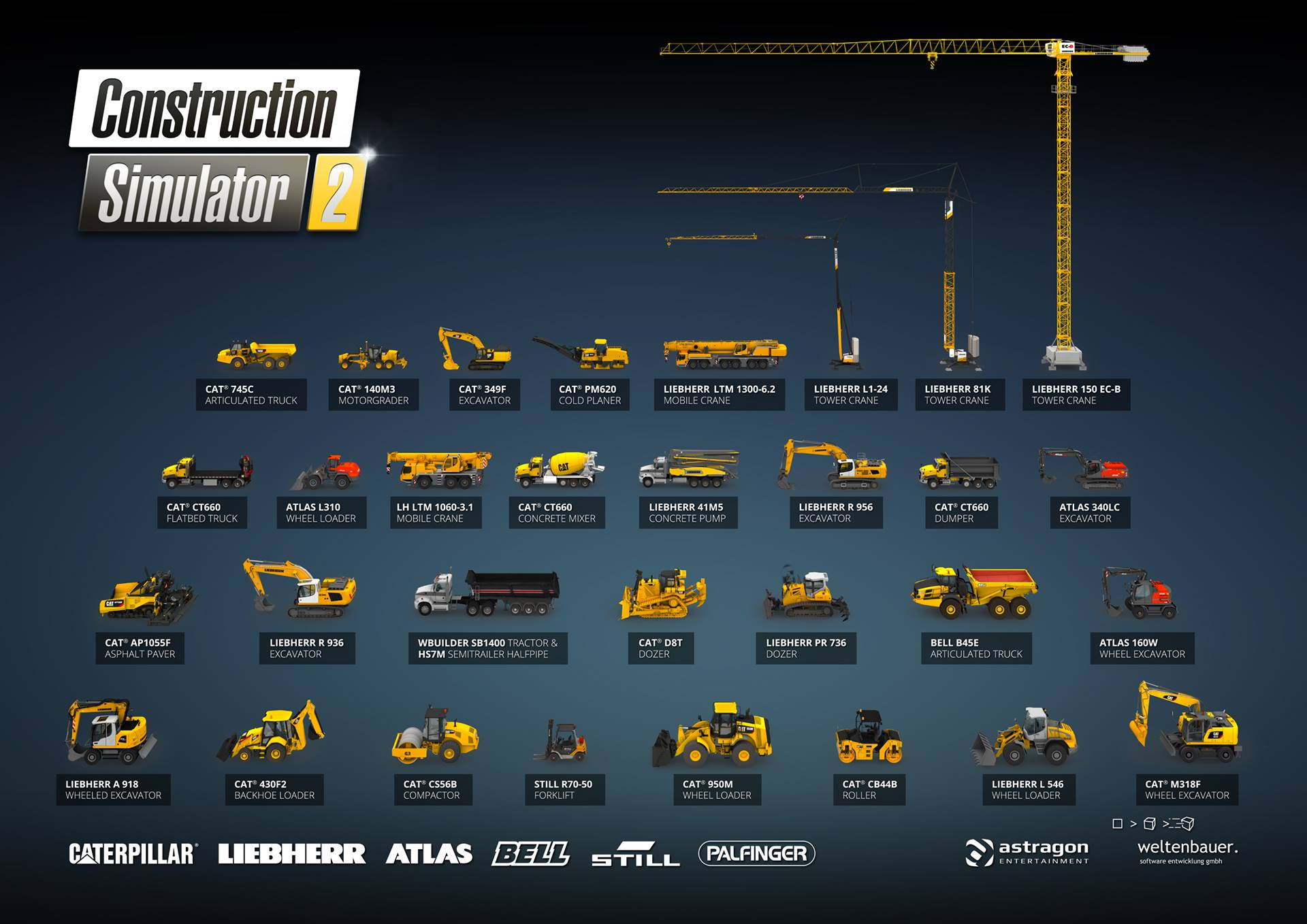 Construction Simulator 2 Arac Listesi